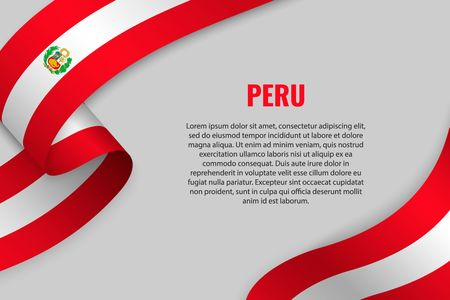Illustration for Waving ribbon or banner with flag of Peru. Template for poster design - Royalty Free Image