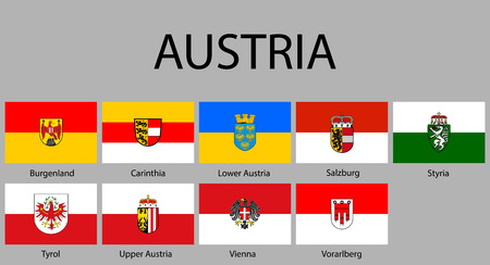Photo for all Flags of regions of Austria. Vector illustraion - Royalty Free Image