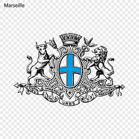 Illustration pour Emblem of Marseille. City of France. Vector illustration - image libre de droit