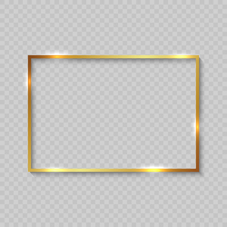Ilustración de Gold square frame with shiny borders on transparent background - Imagen libre de derechos