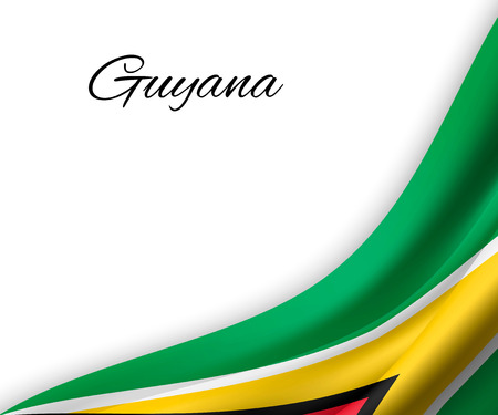 Illustration pour waving flag of Guyana on white background. Template for independence day. vector illustration - image libre de droit