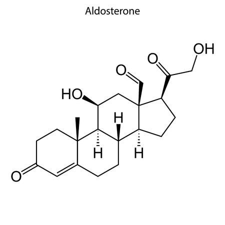 Illustration for Skeletal formula of Aldosterone. Steroid molecule - Royalty Free Image