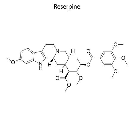 Illustration for Skeletal formula of Reserpine. chemical molecule - Royalty Free Image