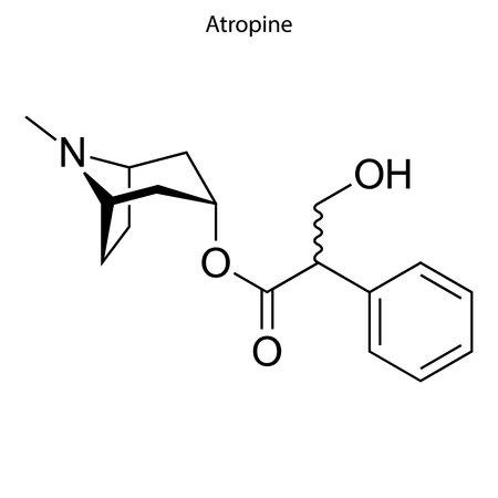 Illustration for Skeletal formula of Atropine. chemical molecule - Royalty Free Image