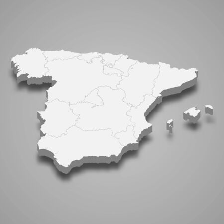 Illustration pour 3d map of Spain with borders of regions - image libre de droit