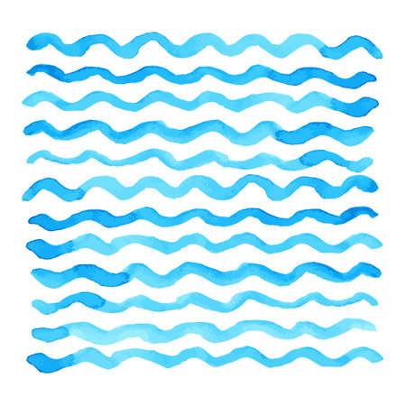 Ilustración de Abstract watercolor blue wave pattern, water texture sketch background. Drawing by hand. Vector illustration - Imagen libre de derechos