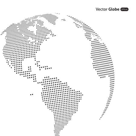 Ilustración de Vector abstract dotted globe, Central heating views over North and South America - Imagen libre de derechos