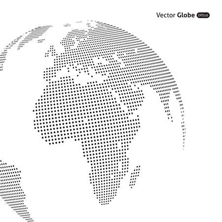 Illustration pour Vector abstract dotted globe, Central views of Africa - image libre de droit