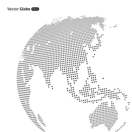 Illustration pour Vector abstract dotted globe, Central heating views over East Asia - image libre de droit