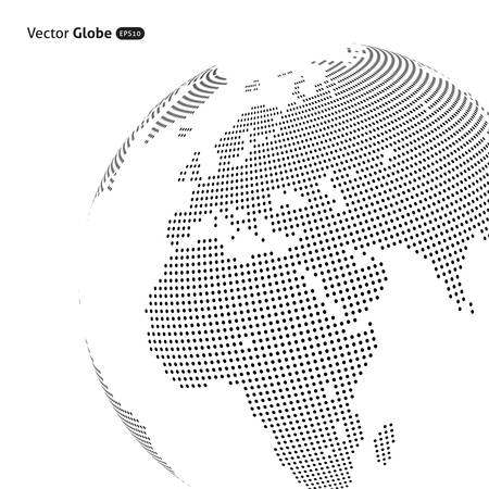 Illustration pour Vector abstract dotted globe, Central heating view on Europe and Africa - image libre de droit