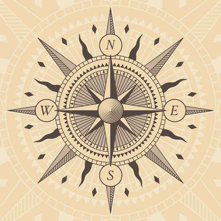 Illustration pour old style wind rose compass - image libre de droit