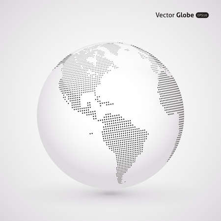 Illustration pour Vector dotted light globe, Central heating views over North and South America - image libre de droit