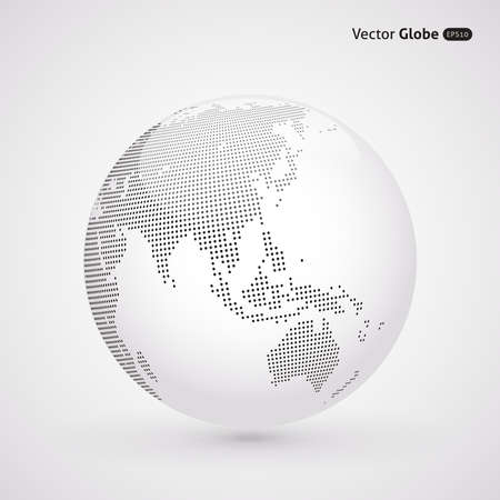 Illustration pour Vector dotted light globe, Central heating views over East Asia - image libre de droit