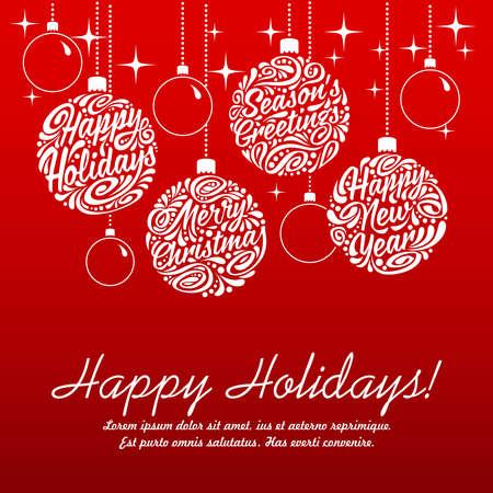 Ilustración de Set of Christmas balls, calligraphic elements. illustration - Imagen libre de derechos