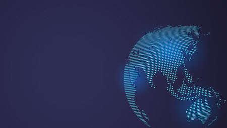 Illustration pour Dark Blue Vector background. Digital Dotted globe, Central heating views over East Asia - image libre de droit