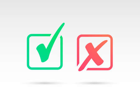 Illustration pour Set of Green Check Mark Icon and Red X cross Tick Symbol - image libre de droit