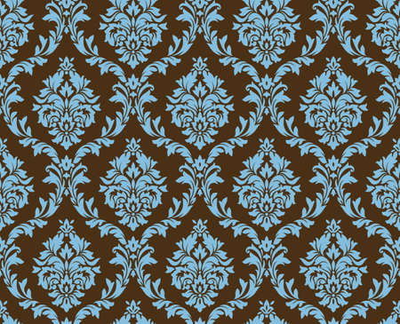 Illustration pour Vector seamless damask pattern. Blue and brown colors. Rich ornament, old Damascus style pattern for wallpapers, textile, Scrapbooking etc. - image libre de droit