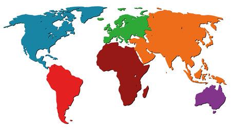 Illustration pour Illustration Graphic Vector World Map colored for different purpose - image libre de droit