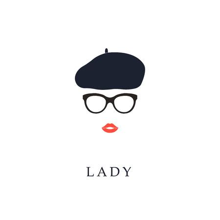 Illustration pour Beautiful trendy French woman wearing glasses and beret. Fashion girl portrait. - image libre de droit