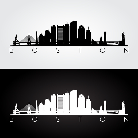 Ilustración de Boston USA skyline and landmarks silhouette, black and white design, vector illustration. - Imagen libre de derechos