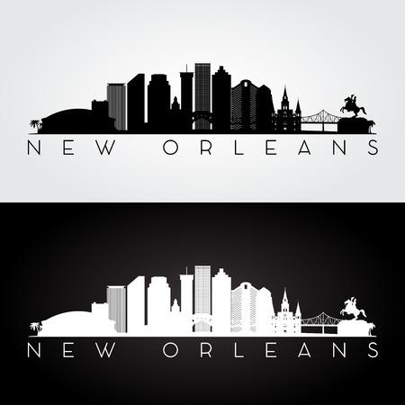 Illustration pour New Orleans USA skyline and landmarks silhouette, black and white design, vector illustration. - image libre de droit