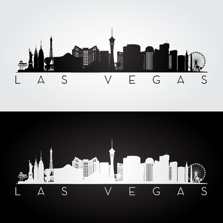 Illustration pour Las Vegas USA skyline and landmarks silhouette, black and white design, vector illustration. - image libre de droit