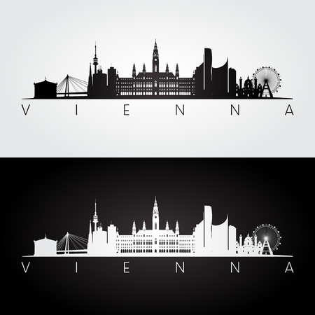 Illustration pour Vienna skyline and landmarks silhouette, black and white design, vector illustration. - image libre de droit