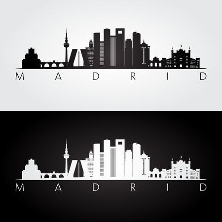 Illustration pour Madrid skyline and landmarks silhouette, black and white design, vector illustration. - image libre de droit