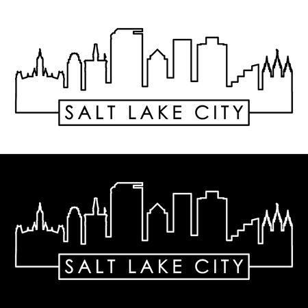 Ilustración de Salt Lake City skyline. Linear style. Editable vector file. - Imagen libre de derechos