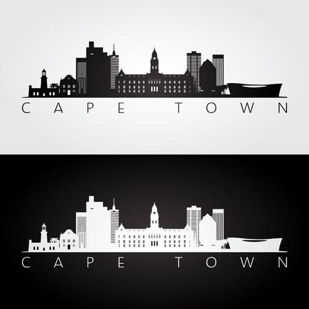 Ilustración de Cape Town skyline and landmarks silhouette, black and white design, vector illustration. - Imagen libre de derechos
