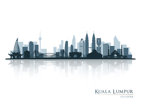 Illustration for Kuala Lumpur, blue skyline silhouette with reflection. Vector illustration. - Royalty Free Image