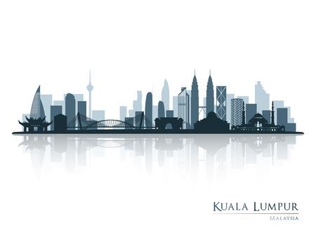 Illustration pour Kuala Lumpur, blue skyline silhouette with reflection. Vector illustration. - image libre de droit