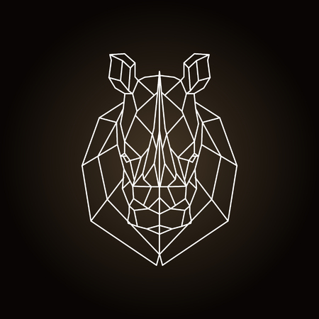 Illustration for Rhinoceros head geometric lines silhouette. Icon isolated on dark brown background. - Royalty Free Image