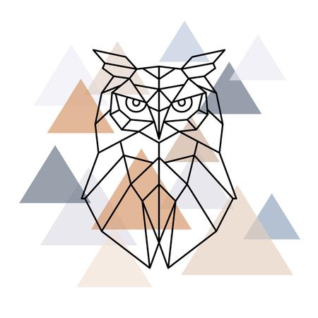 Illustration pour Owl geometric head. Scandinavian style. Vector illustration. - image libre de droit