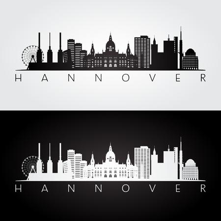 Illustration pour Hannover skyline and landmarks silhouette, black and white design, vector illustration. - image libre de droit