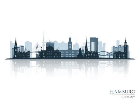 Illustration pour Hamburg skyline silhouette with reflection Vector illustration. - image libre de droit