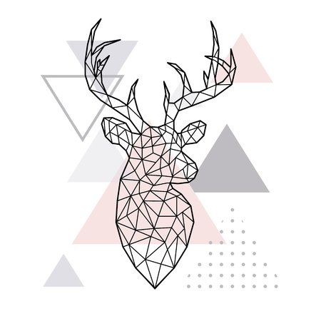 Ilustración de Abstract geometric head of a forest deer. Scandinavian style. Vector illustration. - Imagen libre de derechos