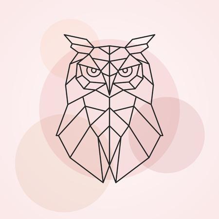 Geometric head of an owl. Abstract vector illustration of a wild bird.