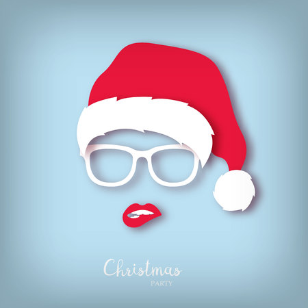Illustration pour Girl Santa with red lips. Paper art style. Christmas party. - image libre de droit