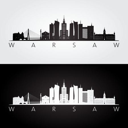 Illustration pour Warsaw skyline and landmarks silhouette, black and white design, vector illustration. - image libre de droit