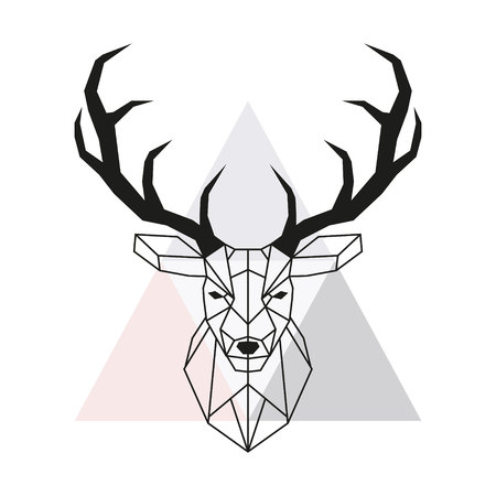 Illustration pour Vector geometric deer head. Stag head and antlers. Low poly style animal drawing. Vector illustration. - image libre de droit