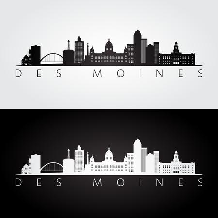 Illustration pour Des Moines USA skyline and landmarks silhouette, black and white design, vector illustration. - image libre de droit