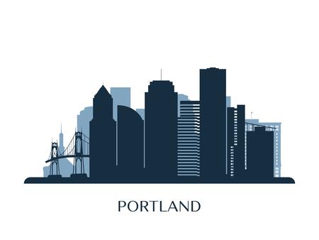 Illustration pour Portland skyline, monochrome silhouette. Vector illustration. - image libre de droit