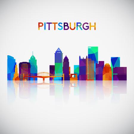 Illustration pour Pittsburgh skyline silhouette in colorful geometric style. Symbol for your design vector illustration. - image libre de droit