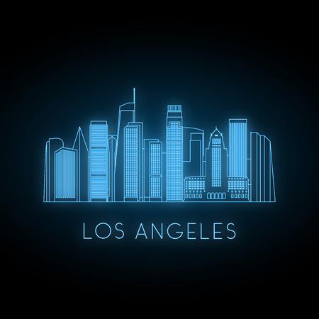 Illustration pour Neon silhouette of Los Angeles city. Glowing blue city landscape. Vector banner. - image libre de droit