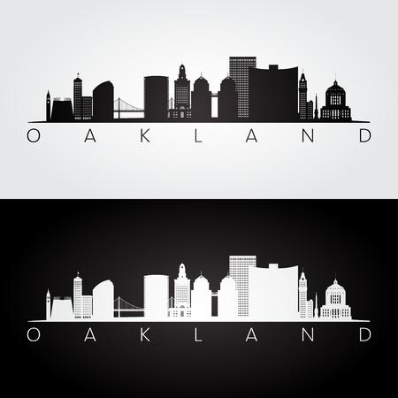Illustration pour Oakland, USA skyline and landmarks silhouette, black and white design, vector illustration. - image libre de droit