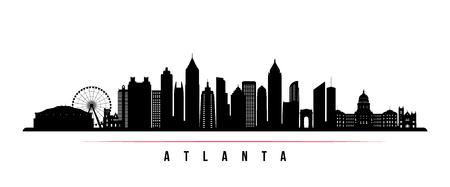 Illustration pour Atlanta city skyline horizontal banner. Black and white silhouette of Atlanta city, USA. Vector template for your design. - image libre de droit