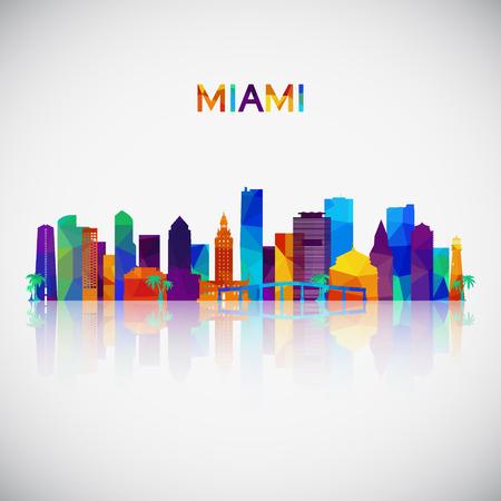 Illustration pour Miami skyline silhouette in colorful geometric style. Symbol for your design. Vector illustration. - image libre de droit