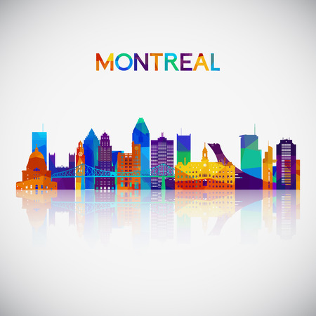Illustration pour Montreal skyline silhouette in colorful geometric style. Symbol for your design. Vector illustration. - image libre de droit