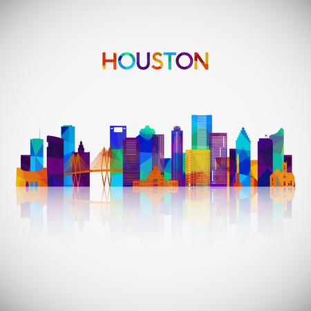 Illustration pour Houston skyline silhouette in colorful geometric style. Symbol for your design. Vector illustration. - image libre de droit